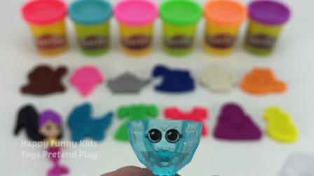 学习颜色与玩球和冰淇淋曲奇模具惊喜玩具丘帕夹头的奴才