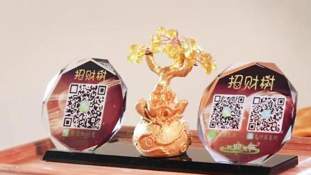 微信二维码牌子定制黄水晶招财树收银台创意个性广告展示牌桌面标识立牌摆件制作收付款码支付宝二维码支付牌