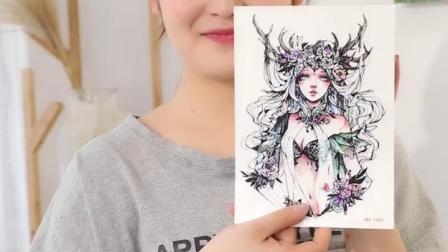 花臂纹身贴防水男女持久韩国仿真刺青性感小清新可爱网图案10张