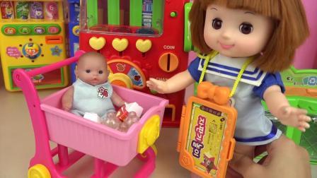 婴儿娃娃糖果自动售货机迷你银行玩婴儿玩具屋
