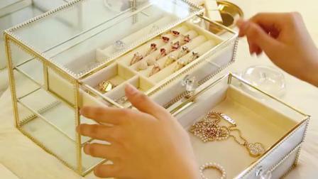 金边玻璃珠宝首饰盒手饰品收纳公主项链耳钉耳环夹坠戒指整理架子