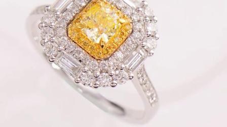 田饶18k白金黄钻钻石戒指吊坠女 豪华大气一款两用彩金钻石首饰