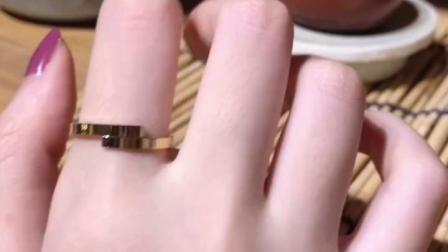 IPG14K镀金钛钢错位交叉光面开口戒指ins极简个性简约时尚对戒