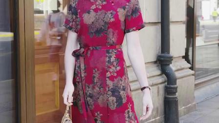 美思娇重磅珍珠缎香云纱连衣裙长款时髦气质淑女桑蚕丝真丝裙夏