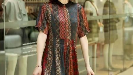 真丝连衣裙花色条纹妈妈装夏季新款杭州丝绸女装桑蚕丝裙子中老年