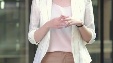 小西装外套女韩版chic英伦风2019新款夏季条纹薄款亚麻小西服上衣