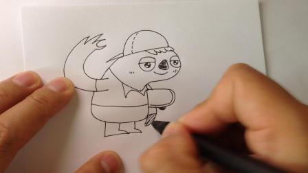 可爱动物简笔画.爱玩滑板的树懒