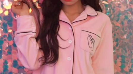 韩都衣舍2019春季新款睡衣粉色可外穿珊瑚绒家居服套装女KR8026璎