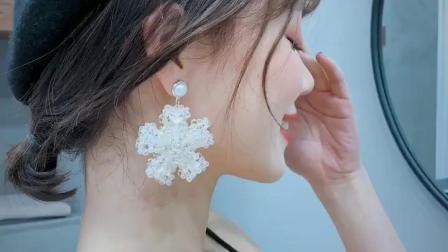 韩国人造水晶花朵ins少女心耳钉闪钻雪花人造珍珠吊坠耳环网红耳