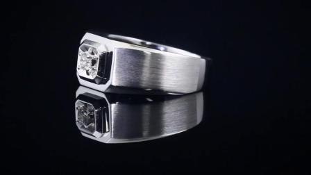 FR珠宝Pt950铂金钻戒男款正品白金钻石戒指经典简约单钻结婚男戒