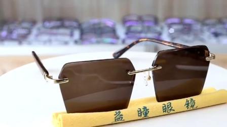 纯天然方形钻石切边东海水晶石男女石头镜2019新款个性太阳镜眼镜