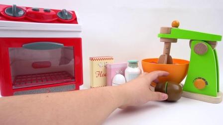 如何用微波炉制作儿童玩具用具玩彩果蛋糕魔术贴切割玩具