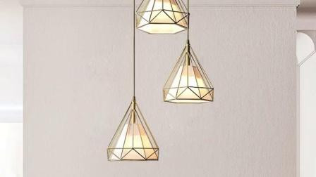 月影灯饰北欧餐厅吊灯三头现代简约客厅灯具全铜吧台灯钻石卧室灯