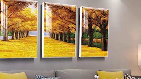 黄金大道客厅装饰画现代简约三联大气沙发背景墙壁画风景冰晶挂画