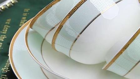 碗碟套装 家用欧式简约中式金边组合碗筷景德镇骨瓷餐具套装 碗盘