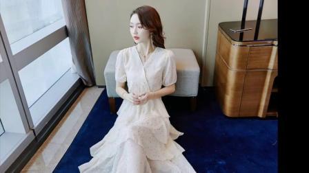网红很仙的洋装2019夏季新款收腰显瘦礼服粉色闪闪蓬蓬蛋糕裙女