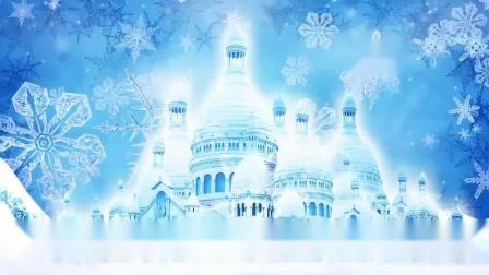冰雪奇缘舞蹈梦幻雪花冰雪城堡LED大屏幕背景视频素材