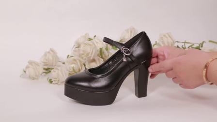 超高跟一字扣旗袍走秀鞋防水台模特厚底高跟鞋女鞋真皮鬆糕底单鞋