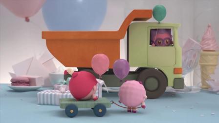 文文用小推车拉着妞妞,他们要去找甜甜庆祝一下,今天是甜甜生日