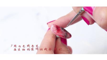妮欧甲艺-美甲甲样步骤视频-浓墨重彩(红黑色款)