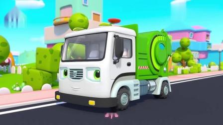 英语趣味儿歌,消防车 警车 救护车 垃圾车 大灰狼卡通动画