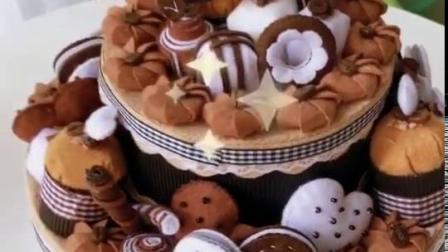 双层蛋糕置物盒 手工DIY布艺材料包 不织布装饰品 学生美术课作业