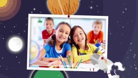 D76可爱儿童卡通生日快乐祝福视频AE模板儿童满月百日宴生日周岁成长纪念照片电子相册MV祝寿视频 老人生日 同学会
