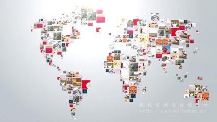 1203 简约大气照片墙多图片汇集世界地图地球形成公司标志logo演绎片头ae模板电子相册 快闪视频 科技视频