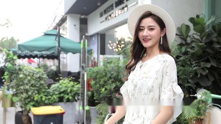 洋装2019新款夏流行高端气质收腰显瘦雪纺牛油果绿碎花蛋糕裙子