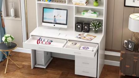 书柜书桌书架组合一体桌子简约儿童家用电脑桌台式学生卧室书桌