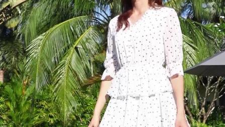 三彩2019夏季新款很仙的法国小众雪纺蛋糕黑白波点洋装子女