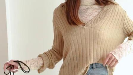 七格格针织衫女套头空调衫夏2019新款秋季长袖薄款宽鬆大V领毛衣