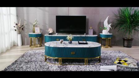 后现代轻奢电视柜茶几组合客厅家俱大理石面不鏽钢简约款矮柜地柜