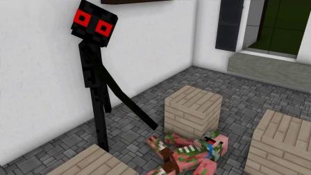 我的世界动画-怪物学院-末影人吃汉堡-johanzcraft