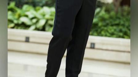 厨师工作裤子黑色厨师裤宽鬆服务员工作服裤饭厅厨师工作裤子男士