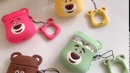 卡通大脸熊airpods耳机保护套苹果airpods2代无线蓝牙耳机套Airpods二代充电盒保护套软壳硅胶一代多色耳机套