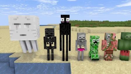 我的世界动画-男生怪物学院 vs 女生怪物学院-短道游泳-johanzcraft