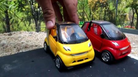 带西瓜轮子的出租车儿童玩具车探险