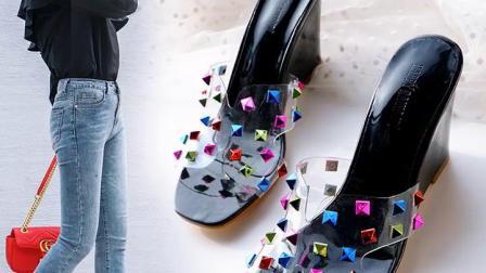 坡跟厚底高跟鞋夏季室内外穿休闲凉拖鞋透明胶带片迷彩铆钉半拖女鞋
