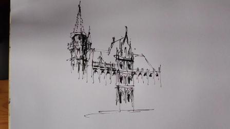 建筑风景钢笔速写
