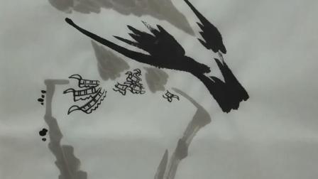 当代国画家徐鹤原创中国画大写意鹰作品《高瞻》