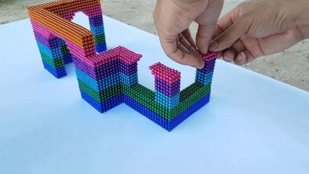 磁铁球如何组装一个漂亮的房子从磁铁球孩子视频孩子