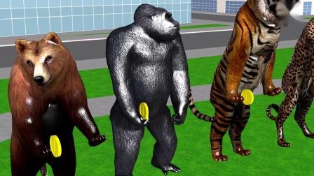 动物故事大猩猩和动物园动物出去玩抓蛋糕游戏儿童卡通
