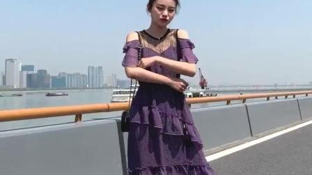 2019夏装新款韩版格子露肩网纱拼接层层蛋糕裙中长版雪纺洋装女