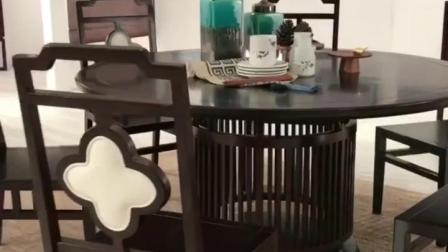 苏适轩新中式餐桌椅组合现代简约中式实木圆桌椅整装