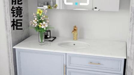 轻奢美式卫浴室柜组合洗手池洗脸盆落地式化妆室厕所洗漱台大理石