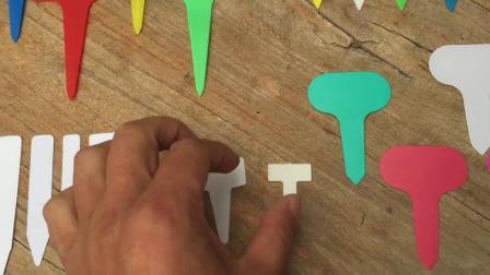 塑料园艺T字标籤 多色 插地蔬果花卉播种小标牌 绿植多肉盆栽插牌