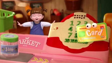 韩国直邮kongsuni小豆子仿真购物车超市收银机 扮家家酒 售货玩具