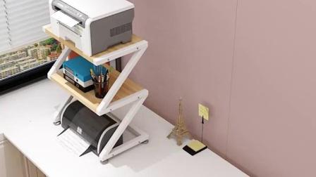 双层印表机架子摆放架机上盒拖架木架子省空间柜子花架支架影印机