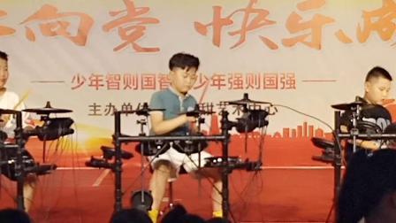 架子鼓表演《感到幸幸福你就拍拍手》,郓城县杨庄集镇小甜甜艺术培训班表演,摄影与制作人解西顺孝爱乐2019年8月9日